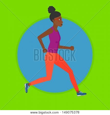 An african-american woman running. Young female runner jogging. Female athlete running. Sports woman in sportswear running. Vector flat design illustration in the circle isolated on background.