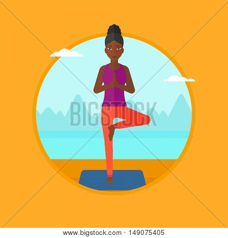 An african-american woman standing in yoga tree position. Woman meditating in yoga tree position on the beach. Woman doing yoga. Vector flat design illustration in the circle isolated on background.