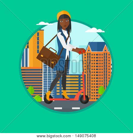 An african-american woman riding a kick scooter in the city street. Business woman with briefcase riding to work on scooter. Vector flat design illustration in the circle isolated on background.