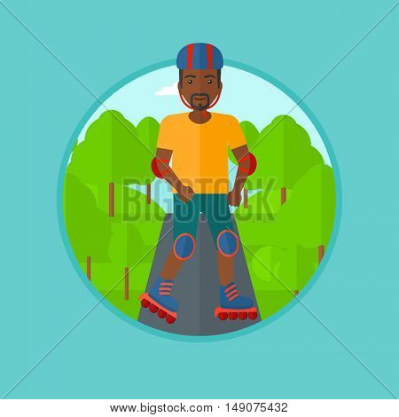 An african-american man on roller-skates in the park. Full length of sportsman in protective sportwear on rollers skating outdoors. Vector flat design illustration in the circle isolated on background