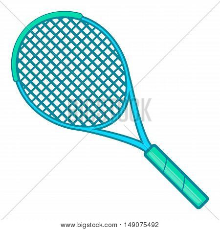 Tennis racket icon in cartoon style isolated on white background. Sport symbol vector illustration