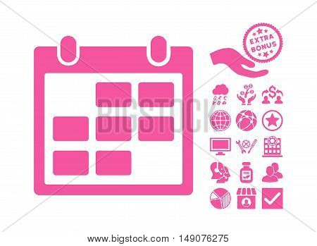 Calendar Month icon with bonus elements. Vector illustration style is flat iconic symbols pink color white background.