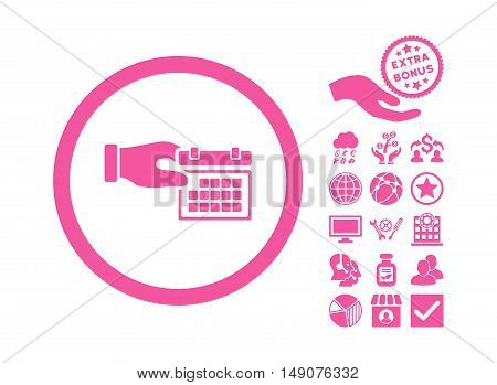 Calendar Properties icon with bonus pictogram. Vector illustration style is flat iconic symbols pink color white background.