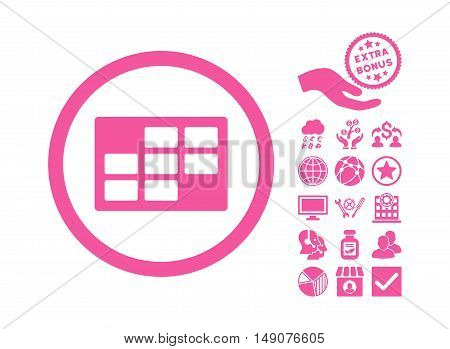 Calendar Table icon with bonus icon set. Vector illustration style is flat iconic symbols pink color white background.
