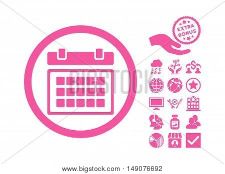 Calendar pictograph with bonus elements. Vector illustration style is flat iconic symbols pink color white background.