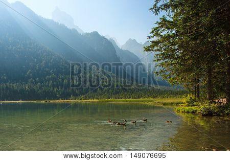 Amazing view of Dobbiaco lake (Lago di Dobbiaco Toblacher See) in Northern Italy