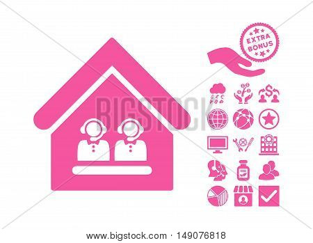 Call Center Office icon with bonus icon set. Vector illustration style is flat iconic symbols pink color white background.