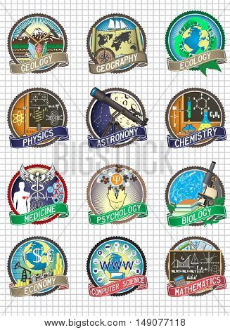 Set of vector colorful badges and labels. Science and school disciplines.