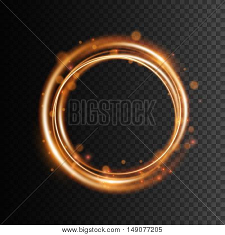 Swirl trail effect on transparent background Golden glowing light effect Vector illustration