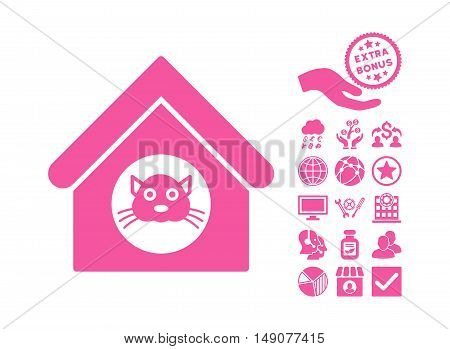 Cat House icon with bonus pictures. Vector illustration style is flat iconic symbols pink color white background.