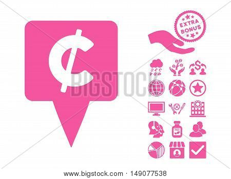 Cent Map Pointer icon with bonus pictogram. Vector illustration style is flat iconic symbols pink color white background.