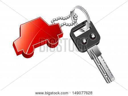 Red car trinket with key on white background