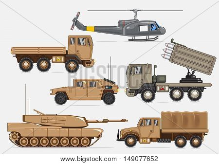 Set of vehicles, tank and helicopter for army