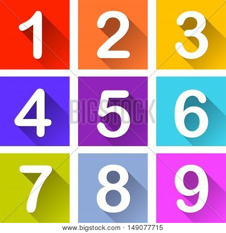 Illustration of numbers coloful icons with shadow