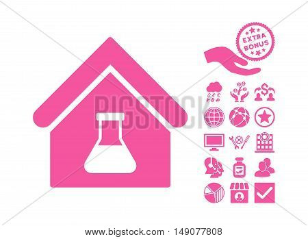 Chemical Labs Building icon with bonus clip art. Vector illustration style is flat iconic symbols pink color white background.