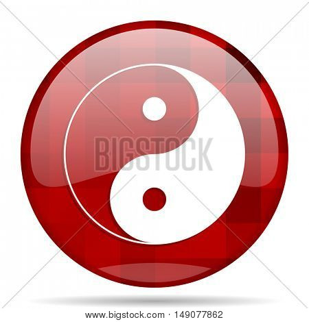 ying yang red round glossy modern design web icon