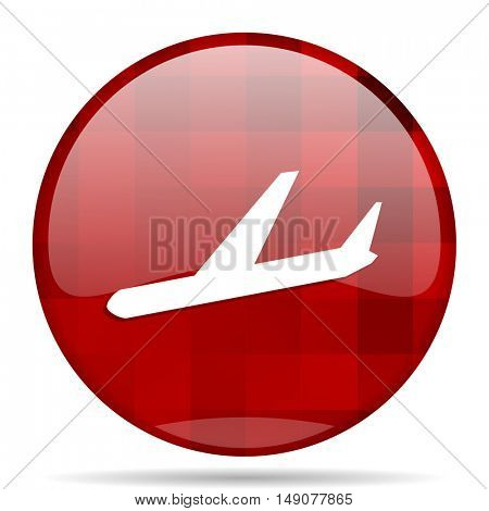 arrivals red round glossy modern design web icon