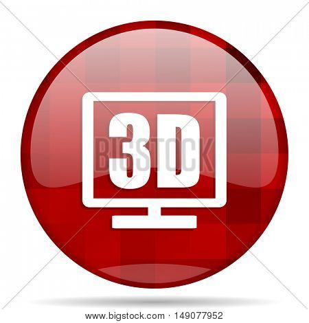 3d display red round glossy modern design web icon