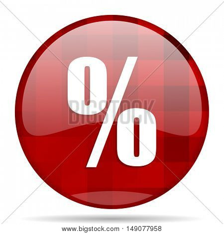 percent red round glossy modern design web icon