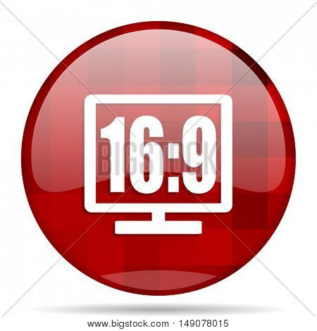 16 9 display red round glossy modern design web icon