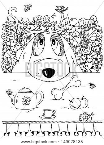 Vector illustration , Dog and kitchen table. Doodle flowers. Meditative exercise. Coloring book anti stress for adults. Black and white.