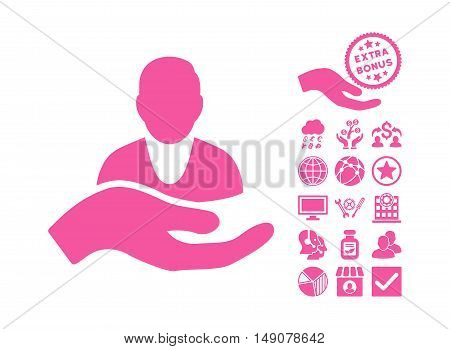 Client Care Hand pictograph with bonus icon set. Vector illustration style is flat iconic symbols pink color white background.
