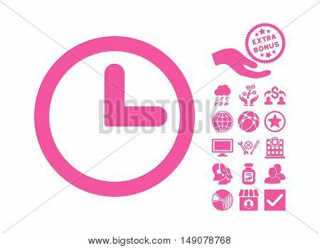 Clock pictograph with bonus symbols. Vector illustration style is flat iconic symbols pink color white background.