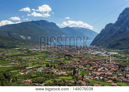 Riva del Garda summer landscape. Blue lake mountains