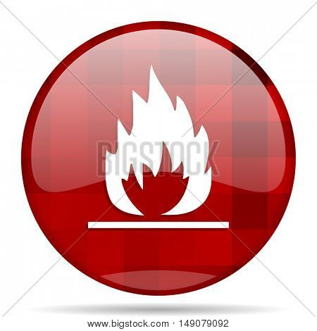 flame red round glossy modern design web icon