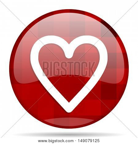 heart red round glossy modern design web icon