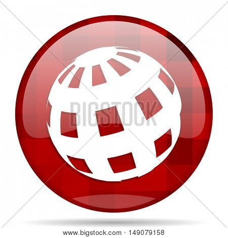 earth red round glossy modern design web icon