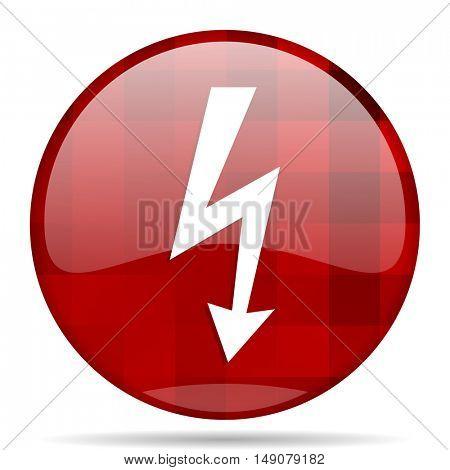 bolt red round glossy modern design web icon