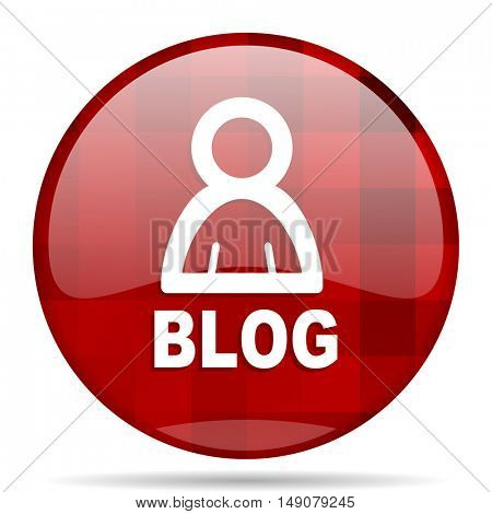 blog red round glossy modern design web icon