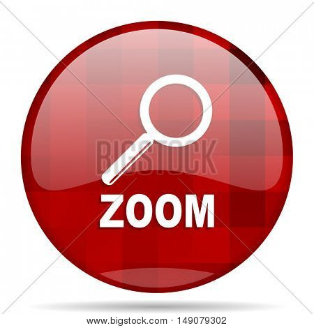 zoom red round glossy modern design web icon
