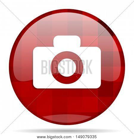 camera red round glossy modern design web icon