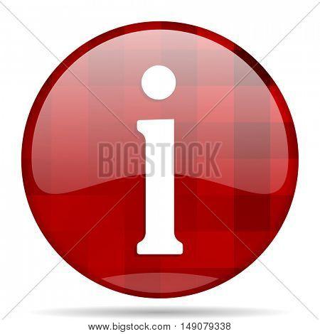 information red round glossy modern design web icon