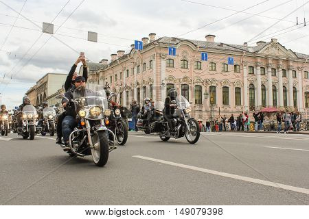 St. Petersburg, Russia - 13 August, Exclusive motorcycles in the parade,13 August, 2016. The annual parade of Harley Davidson in the squares and streets of St. Petersburg.