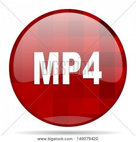 mp4 red round glossy modern design web icon