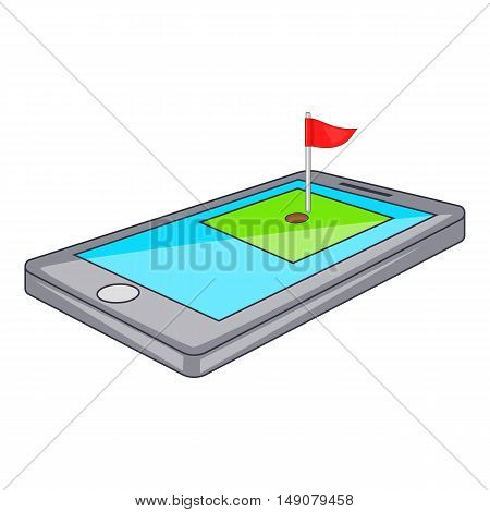 Golf course on phone icon in cartoon style isolated on white background. Game symbol vector illustration