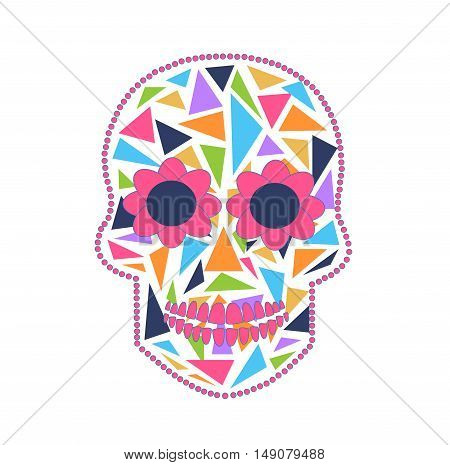 Skull vector background triangle white and pink