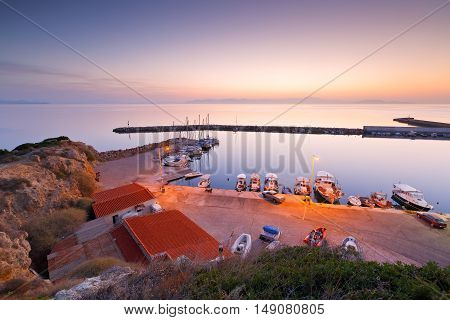 Fishing boats and sailing boats in the marina of Rafina in Athens.