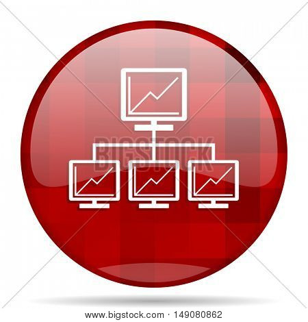 network red round glossy modern design web icon