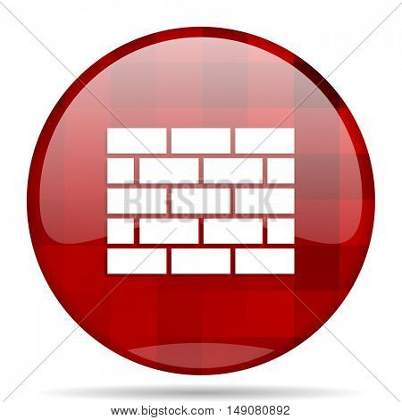 firewall red round glossy modern design web icon