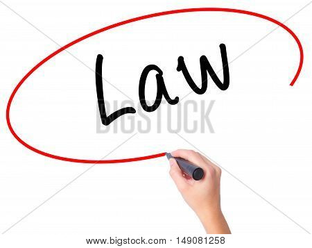 Women Hand Writing Law With Black Marker On Visual Screen