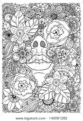 Vector illustration  girl drowned in flowers. Doodle drawing. Meditative exercise. Coloring book anti stress for adults. Black and white.