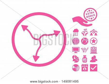 Curve Arrows pictograph with bonus design elements. Vector illustration style is flat iconic symbols pink color white background.