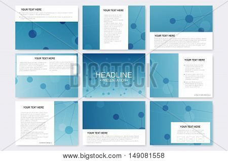 Big set of vector templates for presentation slides. Modern graphic background molecule structure and communication. Medical, science, chemistry, technology design.