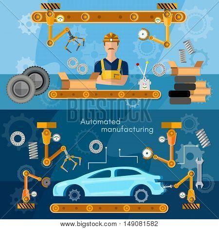 Car assembly line banner conveyor belt operator automotive industry