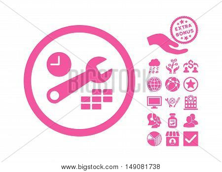 Date and Time Configuration icon with bonus pictogram. Vector illustration style is flat iconic symbols pink color white background.