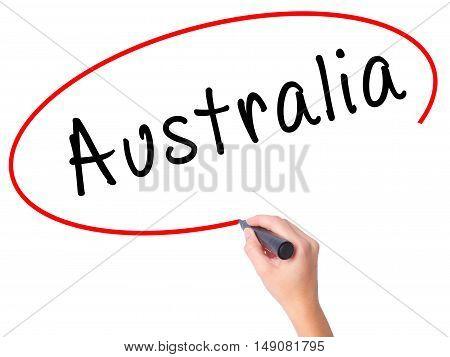 Women Hand Writing Australia With Black Marker On Visual Screen